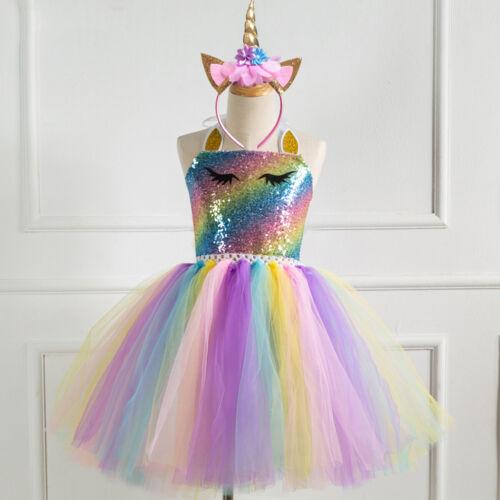 Girls Birthday Sequins Unicorn Dress Costume Kids Party Tutu Dress+Headband Set