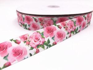 10-Yard-1-039-039-25MM-Roses-Printed-Grosgrain-Ribbon-Hair-Bow-Sewing-Crafts-Ribbon