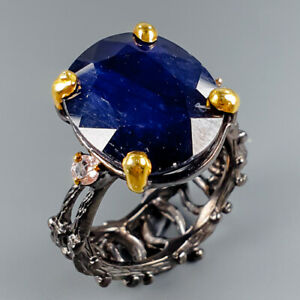 Handmade-Jewelry-Natural-Blue-Sapphire-925-Sterling-Silver-Ring-Size-8-R114721
