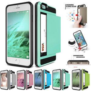 Slide-Card-Pocket-Shockproof-Wallet-Case-For-iPhone-X-8-7-6-6s-Plus-5-5s-SE-4-4s
