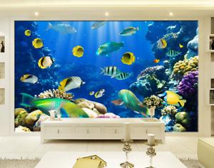 3D blueer Seefisch 577 Tapete Tapeten Mauer Foto Familie Tapete Wandgemälde DE