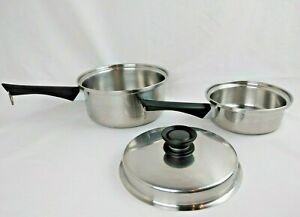 Set-of-3-Pcs-AMWAY-QUEEN-Cookware-1-Qt-Pot-and-3-Qt-Sauce-Pan-with-Lid-USA-Made