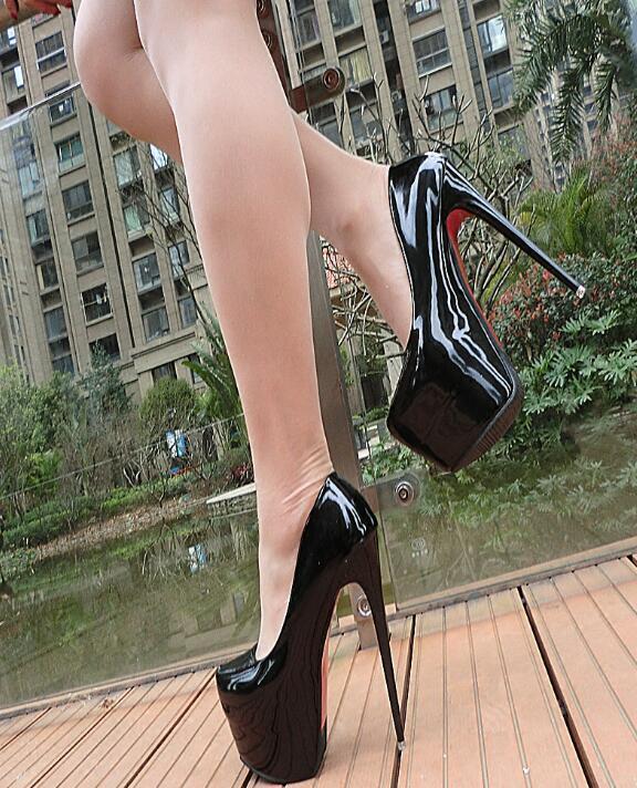Super Hohe 16cm Stilettos Pumps Damen Sexy Lackleder Nachtclub Hochzeit Schuhe