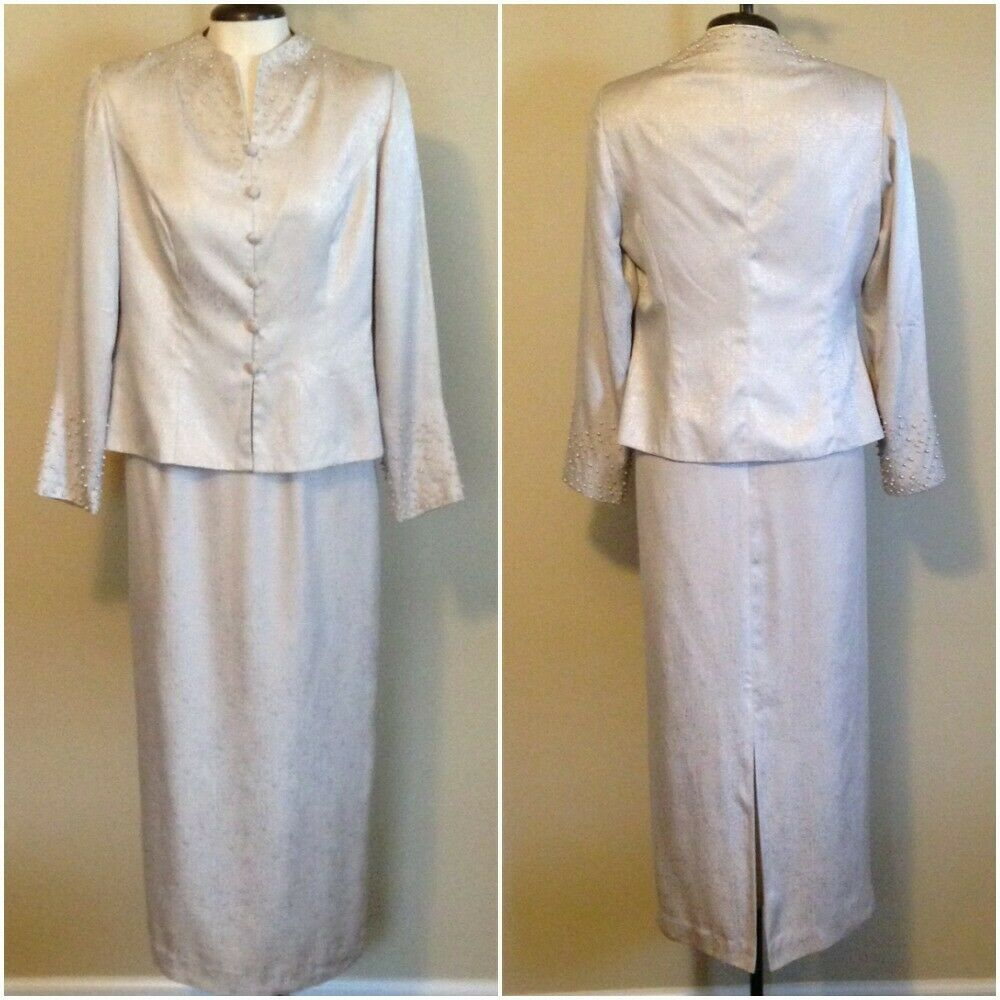 Adrianna Papell Size 10 2 pc Mother of Bride Tan Skirt Suit Sequins Lined