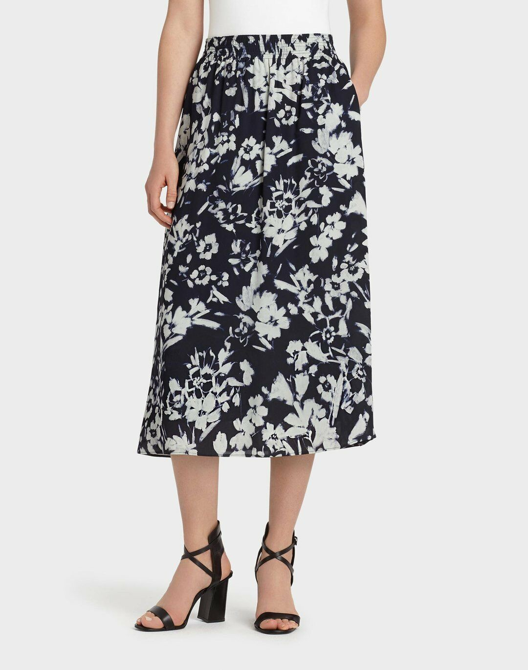 Lafayette 148 NY Augusto Impression Crepe Camrie Skirt Lined 32  XXL 18  498