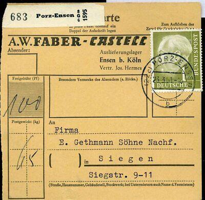 427514) Bund Paketkarte Porz-ensen 1961 Mit Nr. 194, Selbstbucher Faber-castell Moderater Preis