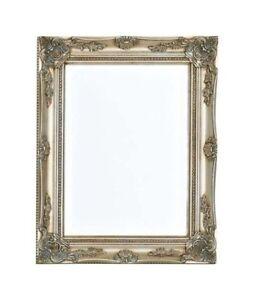 Opulent cadre miroir mural miroir baroque avec facett 40x50 argent ebay for Miroir mural baroque