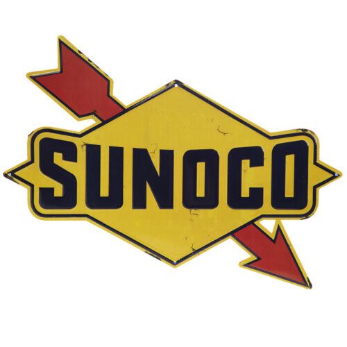 Sunoco Gas Oil Arrow Diamond Metal Wall Sign 18 x 13 embossed tin
