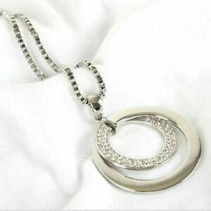 Mode-Damen-Kreis-Kristall-Halskette-Ring-Anhaenger-Lange-Kette-Necklace