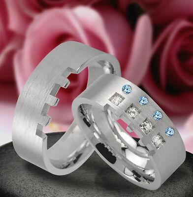 Haben Sie Einen Fragenden Verstand 2 Silber Trauringe Verlobungsringe Mit Echt Topas Steine ,gravur Gratis Jk1-44b