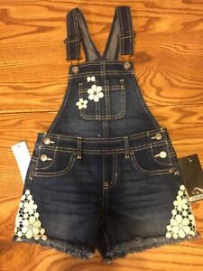 4797db27d NWT Jordache girls denim Short Overalls XS 4-5 Crochet Floral Cute ...