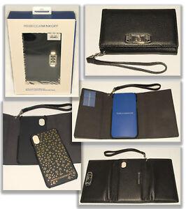 buy online 3970f 6d685 Details about REBECCA MINKOFF - Black Leather - Love Lock iphone X Case  Wristlet Wallet *NEW
