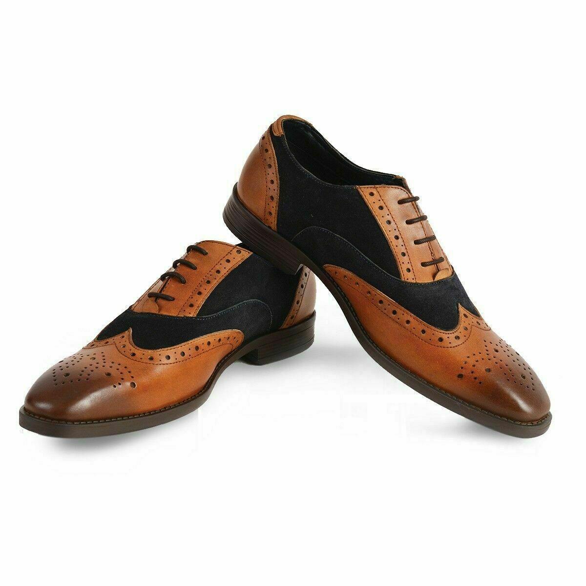 Hommes Fait main Cuir Tan & Daim Noir Oxford Brogue Des chaussures