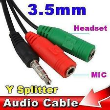 2X Female to 1 Male 3.5mm AUX Jack Audio MIC Splitter Cable Headphone Laptop PC