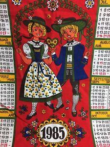 1985 Calendar.Details About 1985 Calendar Tea Towel German Austria Swiss Red Green Blue Vintage Folk Art