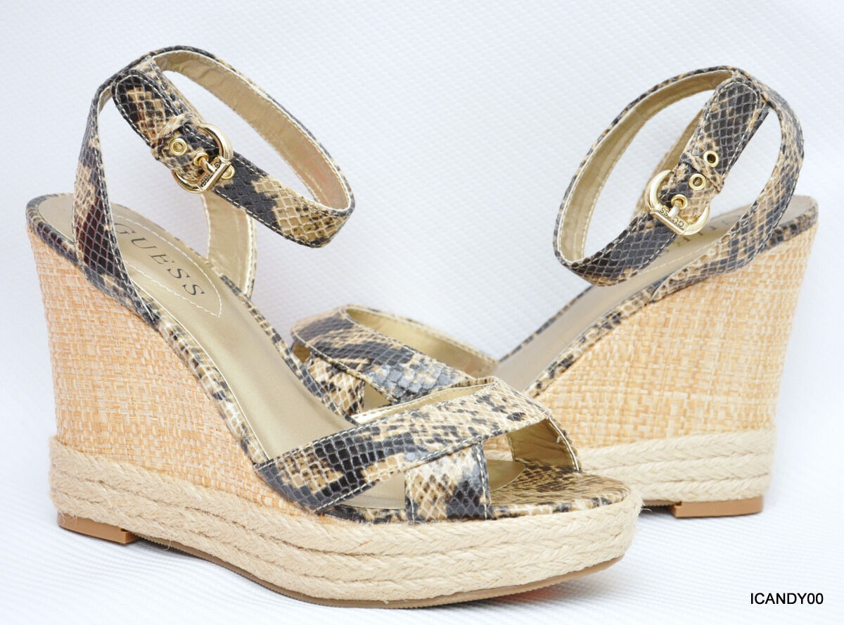 New Guess TRISSA Espadrille Wedge Sandal Platform Platform Platform shoes  Lt. Brown Python 6.5 5fab37