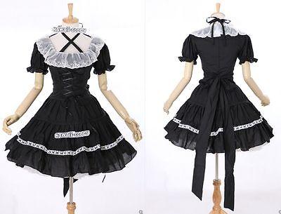 M-3104 S/M/L/XL/XXL schwarz weiß Gothic Lolita Cosplay Kleid dress Kostüm costu