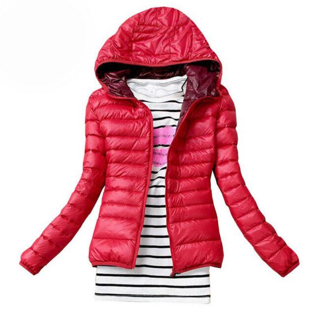 invierno mujer entallado Abrigo Con Capucha Cremallera gabardina chaqueta parka