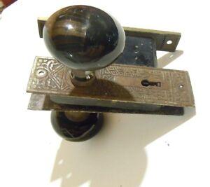 Antique Victorian Door Handle Lock Set Ebay