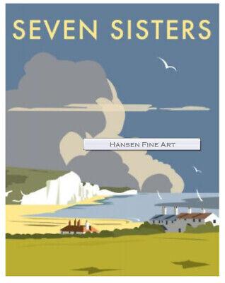 "14/"" Print Seven Sisters East Sussex Art Deco style Art Print"