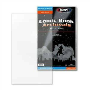 50 BCW Current / Modern Comic Book 4 Mil Mylar Bags 7.25x10.5 Archival Safe