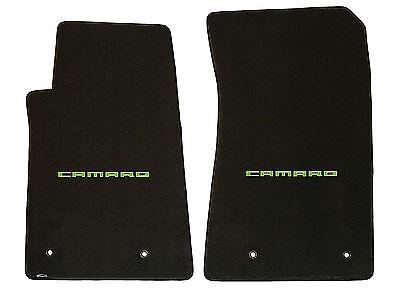 Green Logos on Fronts 2010-2015 Camaro SS 4pc Ebony Classic Loop Floor Mats