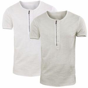 hombre-Camiseta-Cuello-redondo-Sueter-con-cremallera-Camiseta-Algodon-Men-039-s