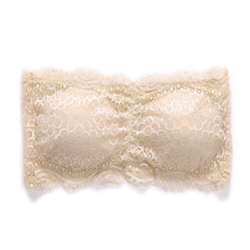 Womens Floral Lace Seamless Bandeau Wire Free 4-Hook Bralette Strapless Tube Top