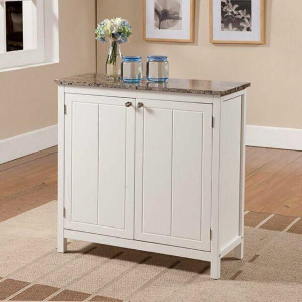 Portable Kitchen Island Marble Top Cabinet Storage Door ...