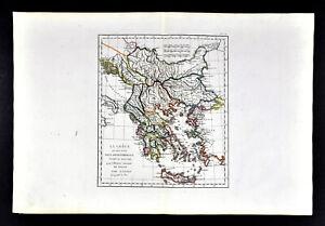 1818 D Anville Map Ancient Greece Balkans South Danube