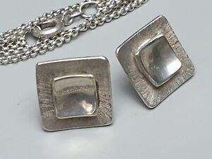 Schmuckset-Collier-amp-Ohrstecker-925-Silber-punziert-80er-Jahre-A-346