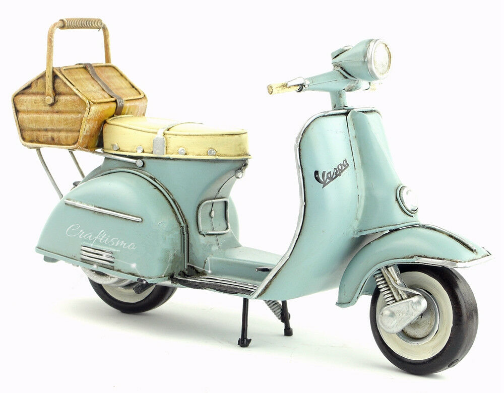 Miniature Retro Style bluee bluee bluee Vespa Motorcycle with Basket Hand Made Toy for Blythe 5b4764