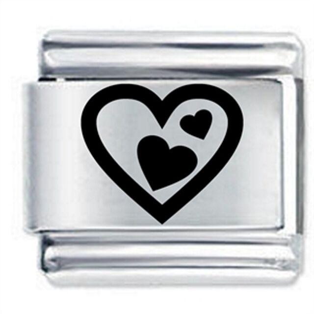 TRIPLE HEART - Daisy Charms by JSC Fits Classic Size Italian Charm Bracelet
