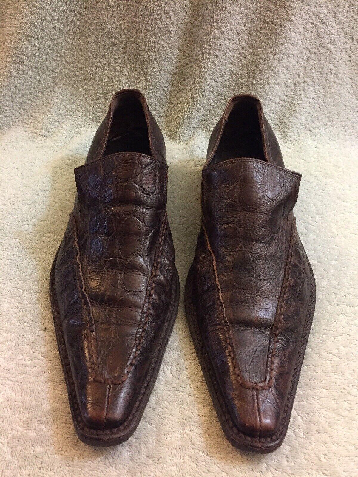 Roberto Guerrini Cocodrilo Slip On Marrón Zapatos para hombre Talla 43.5 US 10 Zapatos únicos