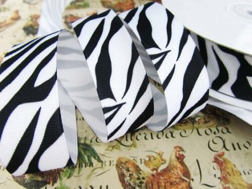 "25 yards Wild Zebra Stripe Grosgrain 1.5/"" Ribbon//Craft//Animal//Color R110-15-Roll"