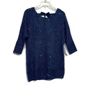 Soho-Sweater-Size-Large-Blue-Embellished-Sparkle-Keyhole-Ribbon-Back