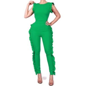 Women-Spring-Reflections-Summer-Green-Sexy-Bodycon-Casual-Ruffle-Jumpsuit-S-M-L