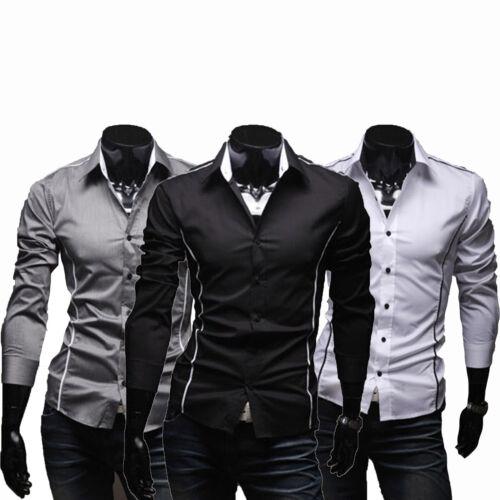 Herren Langarm Hemd Hemden Anzug Business Hochzeit Freizeit Slim Fit Übergröße
