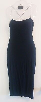 T by Alexander Wang Dress Black Cut Out Back Spagetti Strap Sexy Tight - Small
