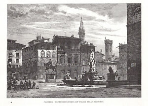 Italien, Italy, Firenze, Florenz - Konvolut 3 Holzstiche um 1885