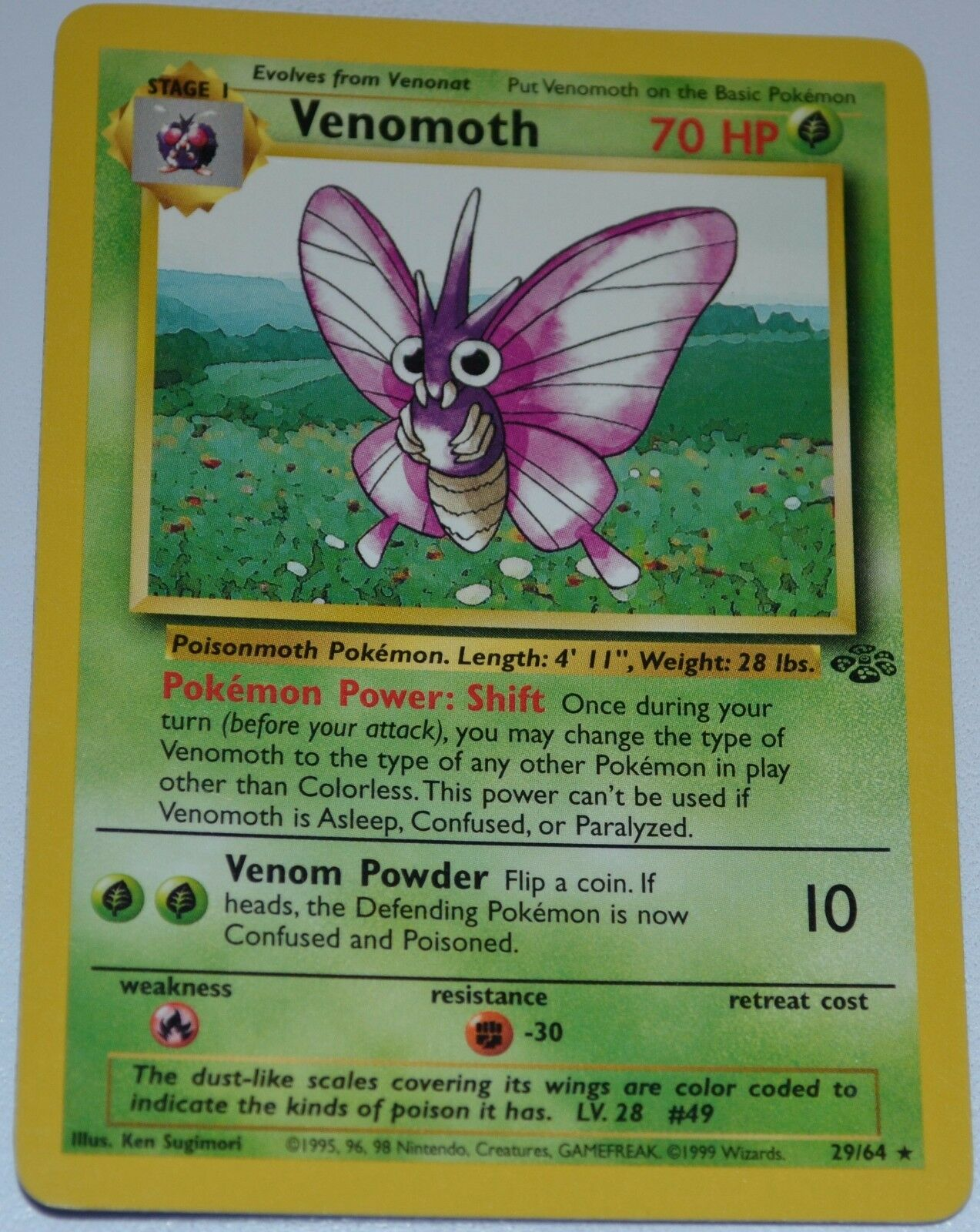 Venomoth  64 Unlimited Original Jungle Set Pokemon Trading Cards Rares MINT