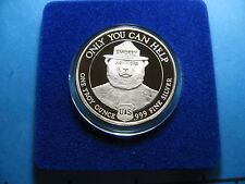 SMOKEY THE BEAR YELLOWSTONE PARK YOU CAN PREVENT FOREST FIRES 999 SILVER COIN #B