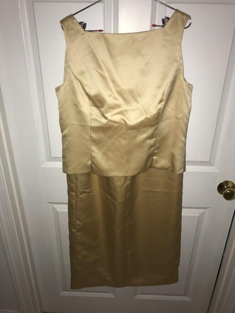 2 PC Evening Formal Prom Wedding Long Skirt & Top SIZE 16 GOLD Satin Sleeveless