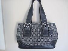 "COACH Black Jacquard Leather Signature ""C"" SOHO Satchel Handbag Shoulder #10927"