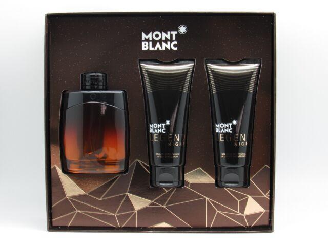 low cost 84e7b bba30 Legend Night by Mont Blanc 3 Pcs Set 3.4oz EDT + A S Balm