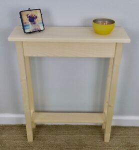 24-034-Narrow-Unfinished-Pine-Console-Sofa-Hall-Wall-Table-With-Shelf