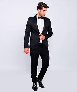 modern fit herren smoking in schwarz anzug hochzeit b hne sakko ebay. Black Bedroom Furniture Sets. Home Design Ideas