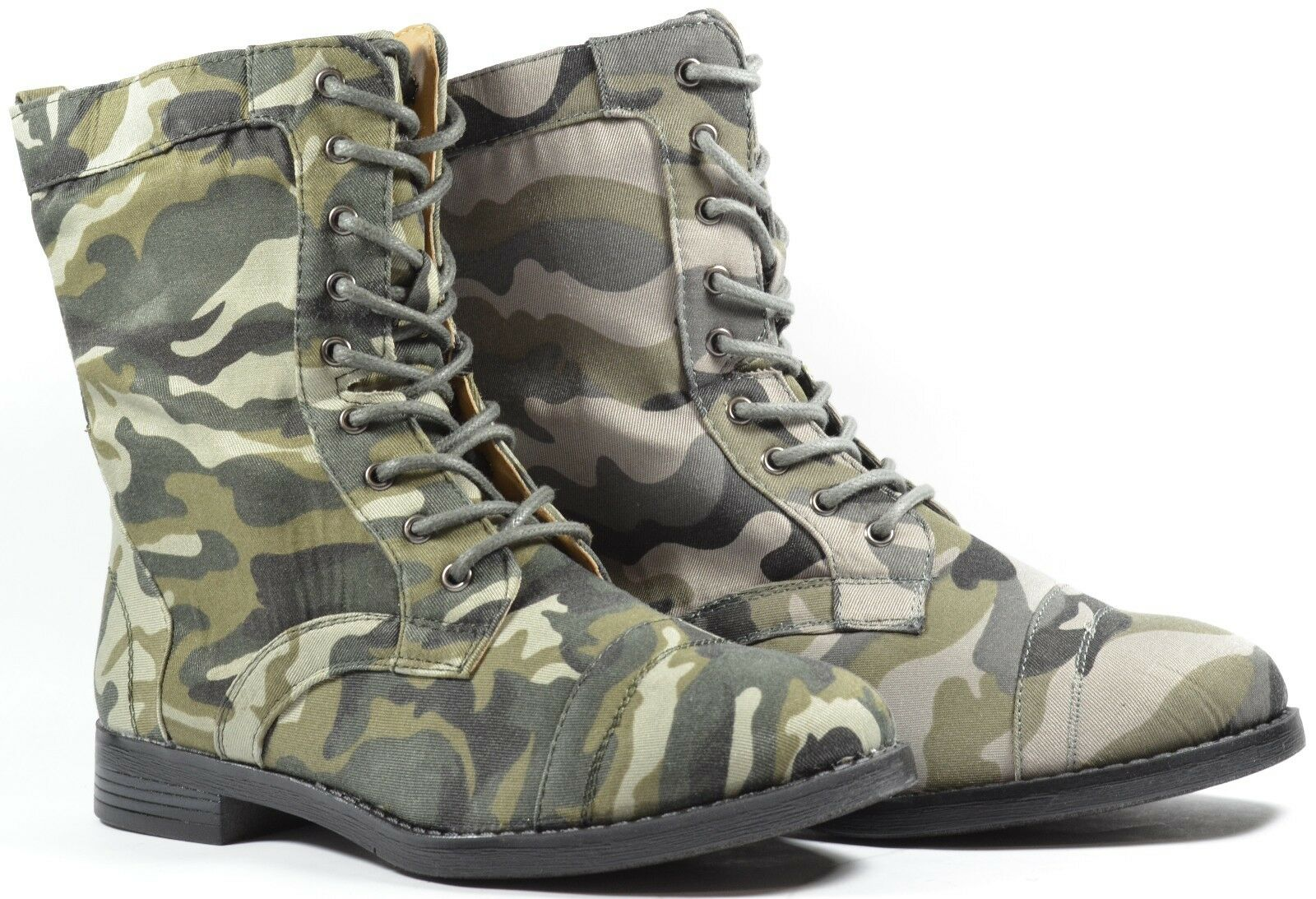 Women Fashion Combat Boots 2014 Style Side Zipper Design Green Gray Camouflage
