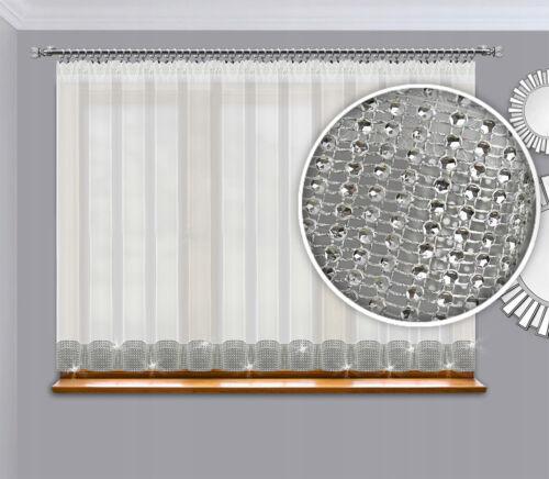 Fertiggardine Gardine  Fenstergardine 300x150 cm Voile mit Zirkonia Silber Band