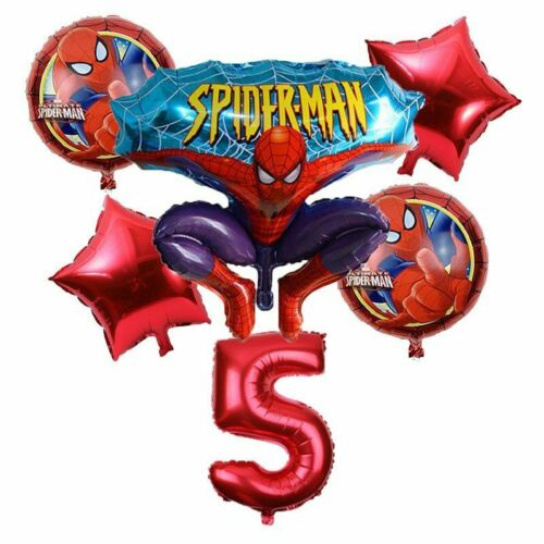 6pcs//lot Spiderman Birthday Number Foil Balloons Cartoon Children Party Supplies